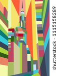 colorful abstract buildings in... | Shutterstock .eps vector #1115158289