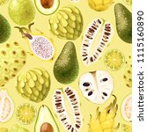 seamless exotic friut | Shutterstock .eps vector #1115160890