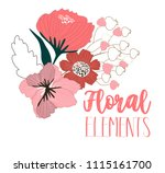flowers drawing and sketch... | Shutterstock .eps vector #1115161700