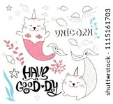 fairy cat unicorn mermaid... | Shutterstock .eps vector #1115161703