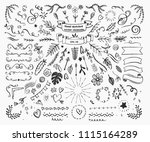 big collection of hand drawn... | Shutterstock .eps vector #1115164289