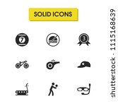exercise icons set with medal...