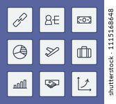 commerce icons set with link ...