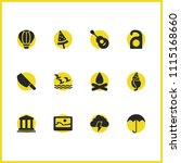summer icons set with picture ...
