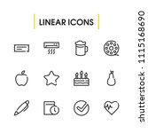 pen icon with fruit  date and...