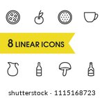 nutrition icons set with pizza  ...