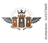 ancient citadel emblem.... | Shutterstock .eps vector #1115173649