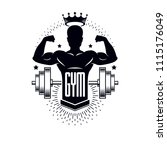 bodybuilding weightlifting gym... | Shutterstock .eps vector #1115176049
