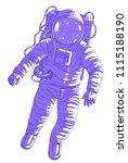 astronaut in spacesuit floating ... | Shutterstock .eps vector #1115188190