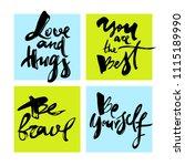 set of handwritten lettering.... | Shutterstock .eps vector #1115189990