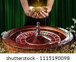 collage of casino images with a ... | Shutterstock . vector #1115190098