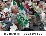 socialist party supporters wave ... | Shutterstock . vector #1115196506