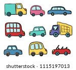 big set of hand drawn cute... | Shutterstock .eps vector #1115197013