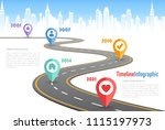 vector curved road with white... | Shutterstock .eps vector #1115197973