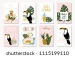 vector set of bright summer... | Shutterstock .eps vector #1115199110