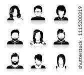 set of avatar or user icons.... | Shutterstock .eps vector #1115200319