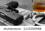 gun and american banknote with... | Shutterstock . vector #1115200988