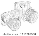 vector wheeled tractor isolated ... | Shutterstock .eps vector #1115202500