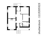 monochrome floor plan of a... | Shutterstock .eps vector #1115205323