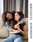 two happy and fun sisters in... | Shutterstock . vector #1115211830