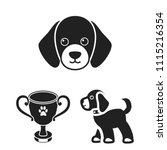 pet dog black icons in set... | Shutterstock .eps vector #1115216354