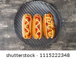 home made grilled hot dog with... | Shutterstock . vector #1115222348