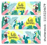 set of tropical banner with... | Shutterstock .eps vector #1115224679