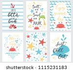 set of hand drawn summer cards... | Shutterstock .eps vector #1115231183