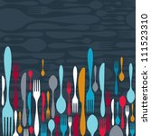 multicolored cutlery icons... | Shutterstock . vector #111523310