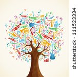 Abstract Musical Tree Made Wit...