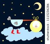 stork bringing children. baby... | Shutterstock .eps vector #1115236286