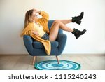 young woman with sexy legs in... | Shutterstock . vector #1115240243