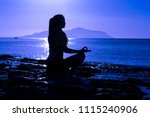 silhouette of young girl... | Shutterstock . vector #1115240906