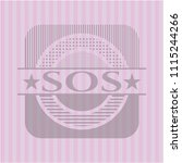 sos badge with sos pink emblem. ... | Shutterstock .eps vector #1115244266