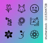 vector icon set about flowers... | Shutterstock .eps vector #1115244728