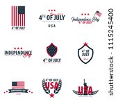 set of emblems of fourth of... | Shutterstock .eps vector #1115245400
