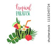 minimal summer trendy vector... | Shutterstock .eps vector #1115245724