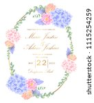 wedding floral invitation with  ... | Shutterstock .eps vector #1115254259