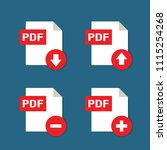 pdf format file icon with... | Shutterstock .eps vector #1115254268