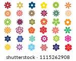set  flower color icons vector... | Shutterstock .eps vector #1115262908