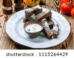 fried garlic croutons | Shutterstock . vector #1115264429