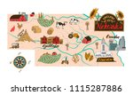 Illustrated map of Nebraska , USA. Travel and attractions