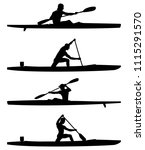 set rowers kayak and canoe... | Shutterstock .eps vector #1115291570