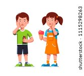aching boy  girl kids touching... | Shutterstock .eps vector #1115298263