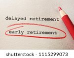 early retirement circled in red ... | Shutterstock . vector #1115299073