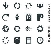 black vector icon set washer... | Shutterstock .eps vector #1115302634