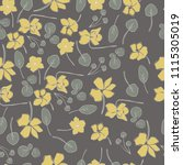 seamless flower pattern. yellow ... | Shutterstock .eps vector #1115305019