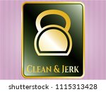 gold badge with kettlebell... | Shutterstock .eps vector #1115313428