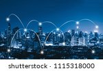 smart city and connection lines.... | Shutterstock . vector #1115318000