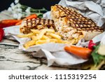 beef tacos served with golden... | Shutterstock . vector #1115319254